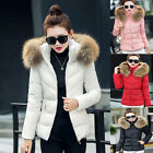 UK Women Ladies Hooded Quilted Jacket Fur Winter Long Padded Coat Parka Tops