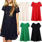 womens Tunic blouse Loose Ladies Mini prom Casual Vintage Party lace Dress Size