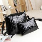 New Luxurious Womens Crocodile Handbag Genuine Leather Shoulder Bag 2PCS HOT