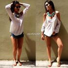 Women's Boho Summer Lace Off-Shoulder Blouse Long Sleeve Chiffon Shirt T-Shirt