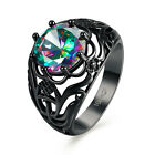 Fashion Colorful Stainless Steel  Black  Zircon Stone Crown Finger Ring Size6-8