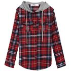 Fashion Blouse Shirt Women Blouses Hooded Plaid Long Plaid Woolen Lady Tops