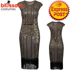K296 Brown 1920s Flapper Dress Great Gatsby Charleston 20s Abbey Sequins Costume