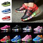 Unisex Boys Girls LED Light Up Shoes Kids Retractable Wheel Roller Skate Shoes
