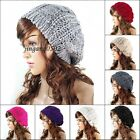 women Cap Beanie Skullcap Hippie Beret Braided Knit Hat Knit Wool Ski Winter Hat