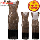 K249 Brown 1920s Flapper Dress Great Gatsby Charleston 20s Abbey Sequins Costume