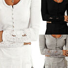 CHIC Fashion Womens Long Sleeve Shirt Casual Lace Blouse Loose Cotton Tops New