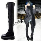 Punk Motor Womens European Lace Up Strappy Bandage Over Knee Thigh Boots Shoes