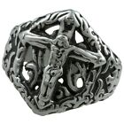 Unisex 316L Stainless Steel Christians Jesus Crucifix Cross Hollow Out Ring Gift