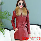 The new women's Leather Ladies slim long coat lapel sheep leather cotton coat