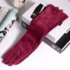 "40cm(15.75"") long winter fashion genuine suede leather gloves long burgundy"