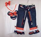 Custom Minnie Mouse NFL Jeans Outfit all teams Patriots Cowboys Steelers Lions