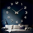 3D DIY Wall Clock Home Modern Decoration Crystal Mirror Sticker Living Room LAK