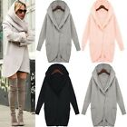 Women Woolen Warm Ladies Tops Casual Long Jacket Hooded Coat Outwear Overcoat