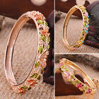 Women Lady Gold Plated Ethnic Crystal Cuff Bangle Bracelet Jewelry Pendant