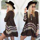 Women Boho Long Sleeve Floral Tops Blouse Summer Casual Beach Fashion Mini Dress
