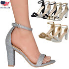 New Women's Ankle Strap Chunky Pump High Heel Sandals Party Dress Open Toe Shoes