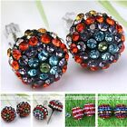 2pcs Womens Fashion Stainless Steel Rainbow Crystal Cap Ear Studs Earrings Gift