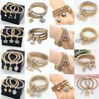 3PCS Gold Silver Rose Gold Plated Crystal Cuff Bangle Charm Elastic Bracelets