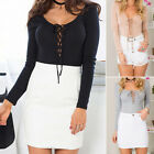 New Sexy Women Deep V Neck Casual Long Sleeve Lace-up Crop Tops Blouse Shirt tb