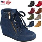 Внешний вид - Women's New Glitter Sneakers High Top Lace Up Wedge Ankle Bootie Shoes