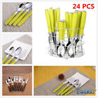 24 Pcs Cutlery Set Kitchen Utensil Spoon Tea Pc Fork Stainless Steel With Stand