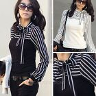 Elegant Women Tops Stripe Long Sleeve Blouses T-Shirt Black/White Round Collar