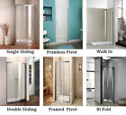 Aica Bi fold Pivot Wet Room Walk in Enclosure Sliding Shower Door Glass Cubicle