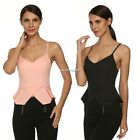 3 Colors Women Sexy Casual Spaghetti Strap V Neck Backless Solid Blouse N4U8