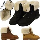 New Womens Ladies Fur Lined Warm Winter Snow Ankle Boots Lace Up Shoes Sizes UK
