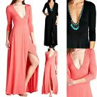 3/4 Sleeve Full Length Maxi Dress Solid V Neck with Front Slit Casual Cute S M L