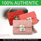 [OMNIA] Crystal Ladies Wallet Genuine Leather Trifold Purse ID Card Coins Bag