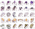 30 Style Beauty Multicolor Gemstone Silver Ring Size 6 7 8 9 10 11 12 13 Lady