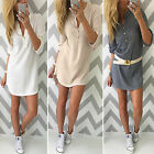 Womens V Neck Bodycon Long Sleeve Shirt Tops Ladies Jumper Tunic Sweater Dress