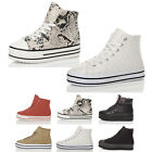 WOMENS LADIES LACE UP FLATFORM HIGH TOP PLATFORM SPORTY TRAINERS SNEAKERS SIZE
