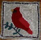 Cardinal on Branch Primitive Rug Hooking KIT WITH #8 CUT WOOL STRIPS