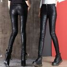 New Women's Faux Leather Slim High Waist Pants Casual Skinny Trousers Leggings
