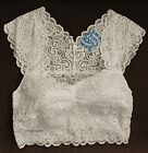 NWT FREE PEOPLE 095561 Wireless Lace Bralette, Crop Top, White
