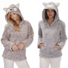 Ladies Forever Dreaming Animal Charactor Owl Fox Hooded Fleece Snuggle Top