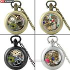 Antique Pocket Watch Quartz Dragonfly Steampunk Pendant Necklace Chain Retro DIY image