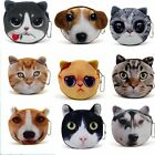 Cat Dog Animal Face Zipper Women Kids Purse Coin Wallet Makeup Bag Pouch HandBag