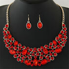 Fashion Women Bib Crystal Rhinestone Chain Necklace Earrings Jewelry Sets
