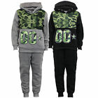 Boys Camouflage Tracksuits Military Army Kids Hooded Top Bottoms Fleece Winter