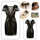 Glam Gold Sequin 1920s Flapper Gatsby Party Charleston Formal Evening Prom Dress