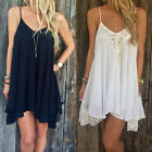 Women Summer Casual Sleeveless Party Evening Cocktail Lace Short Mini Dress BD