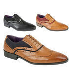 MENS ITALIAN DESIGNER BROGUES FORMAL SMART LACE UPS FAUX LEATHER SUEDE SHOES
