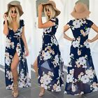 LONG MAXI SUMMER BEACH DRESS WOMEN CHIFFON BOHO FLORAL PARTY SHORT SLEEVE DRESS