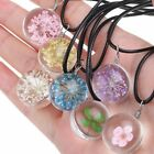 Pretty Handmade Crystal Glass Ball Flower Necklace Leather Chain Pendant New