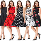 Vintage 50s Style Pinup Floral Polka Dots Swing Prom Party Dress Size xs ~xl