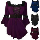 Women Loose Lace Splicing Blouse Flared Sleeve Tops T Shirt Plus Size S-5XL New